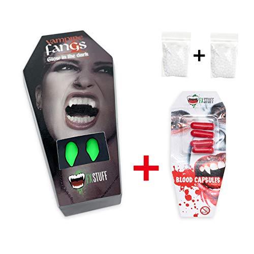 FXSTUFF Glow Vampirzähne + Kunstblut Kapseln + Abformmasse (wiederverwendbar)