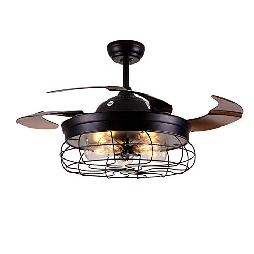 46-inch Retro Industrial Foldable 4-blade Cage Ceiling Fan Chandelier with 5 Lights Function with Remote Control for Kitchen Living Room Dining Room Ceiling Lamp Home Decoration Black