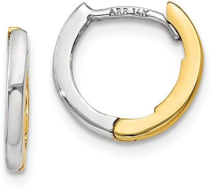 Solid 14k Yellow and White Gold Two Tone Mini 1 35mm Hinged Hoop Huggie Earrings 7mm x 1mm product image