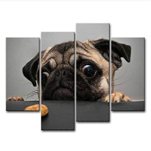 YaShengZhuangShi Drucke auf Leinwand Bild Tier Wandkunst Malerei Leinwand Poster Crazy Mops Das Bild Tier Bilder 30x40cmx2 30x60cmx2 30x80cm Kein Rahmen