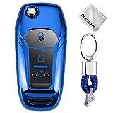 Azul Funda para Llave Smart Key para Coche Ford F-150 F-250 F-350 KA Mondeo Ranger Fiesta Explorer Eco Sport 2015 – 2018 3 Button Carcasa Protectora [Suave] de [Silicona]