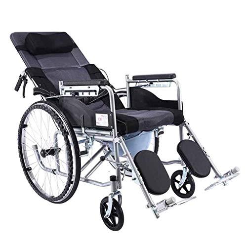 Faltrollstuhl für ältere und behinderte Menschen, aus Stahl, Leichtgewicht, Pflegerollstuhl mit Liegefunktion, Beinstütze, Kopfstütze