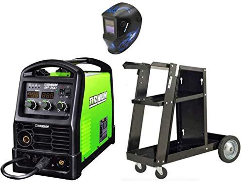 TITANIUM Unlimited 200 Welding Bundle -Professional Multiprocess 120/240 Volt Welder - Welding Helmet - Welding Cart