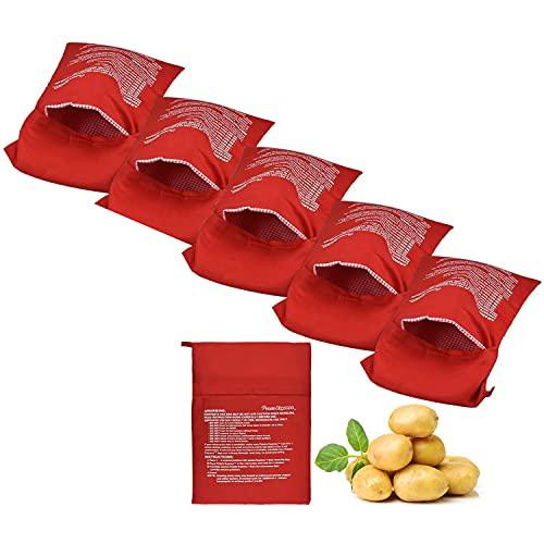 6 Pezzi Borsa Per Cottura Patate, Patate Microonde Fritte, Borsa Per Patate Riutilizzabile, Sacco Cuoci Patate, Borsa Per Patate a Microonde, Patate Microonde Per Dieta Borsa Cucina (Rosso)