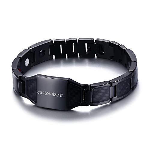 JewelryWe Schmuck Herren Magnetarmband, Edelstahl Kohlenstoff Faser Kohlefaser Magnet Armband Armreif Armkette, Schwarz