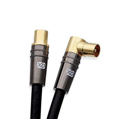 XO 5m Männlich auf Männlich abgeschirmtes TV / AV Antennen Koaxial Kabel mit 90 Grad rechtwinklig vergoldeten Metallstecker für UHF / RF TVs, DVD-Player, DVR, Kabel-Boxen und Satelliten - Schwarz