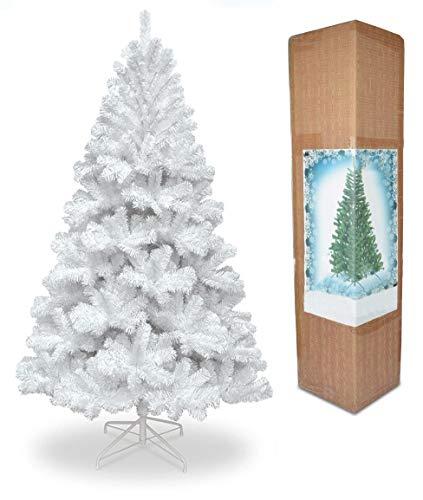 1,8m Weihnachtsbaum weiß 550Pines Künstlicher Baum mit Metall Ständer