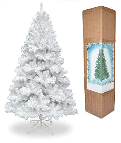 SHATCHI 6FT/1.8m Alaskan Pine Snow White Artificial Christmas Tree 550 Tips Xmas Home Decorations Décor 180cm, PVC, 6Ft/180CM