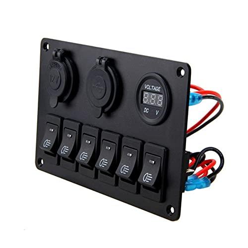 MENGMENG Mengz Store 12V 6 Botones Impermeable Auto Boat Auto Boat Marine LED Rocker Interruptor Interruptor de interruptores para el Panel de Control del Interruptor de balancín
