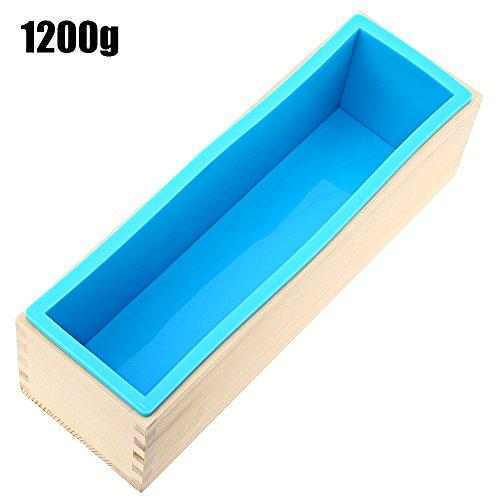 1200g siliconen zeep brood schimmel houten doos DIY maken gereedschap - blauw