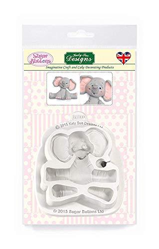 Baby Elefant Silikonform für Kuchen Dekorieren, Basteln, Cupcakes, Sugarcraft, Süßigkeiten, Karten und Ton, lebensmittelecht genehmigt, Made in UK, Zuckerknöpfe