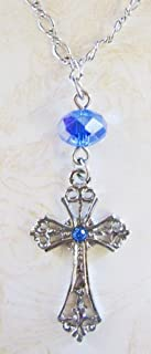 Silver/Blue Beaded Cross Necklace (P4828): Vatican Library Collection - Carded