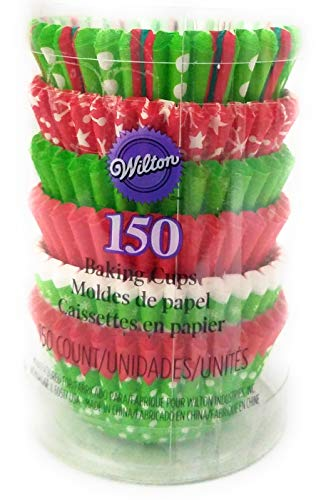 Wilton Baking Mini Paper Cup Mold. Assorted Holiday Colors 150 Ct.