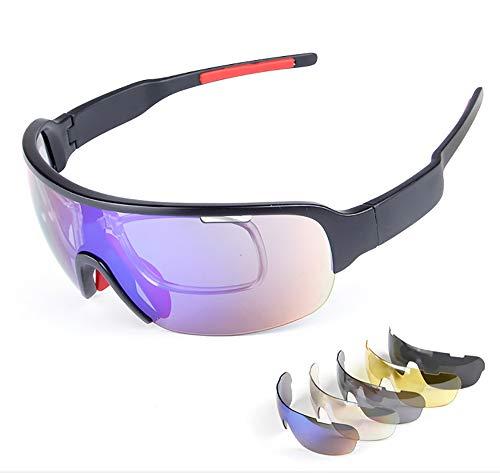 YUEFF Sport Sonnenbrille Fahrradbrille Sportbrille Mit UV400 5 Wechselgläser Inkl Schwarze Polarisierte Linse Wie Radfahren Laufen Klettern Autofahren Laufen Angeln Golf Unisex,Bluewhite