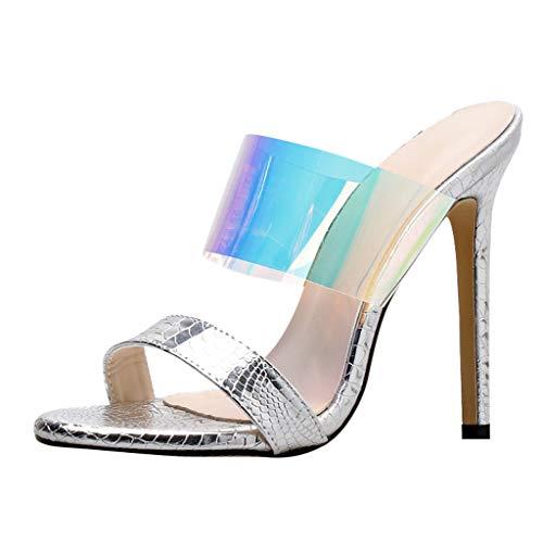 Damen Pailletten High Heels Hausschuhe, LeeMon Frau wies Schuhe offener Zeh sexy transparente Bunte hochhackige Hausschuhe