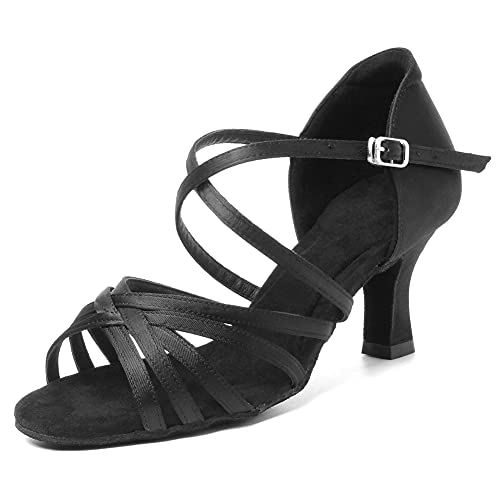 HIPPOSEUS Zapatos de Baile Latino para Mujer Zapatos Negros de Punta Abierta para salón de Baile Zapatos de Baile de Salsa Latina,39 EU