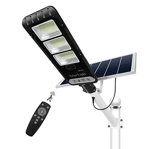 300W Solar Street Flood Light Outdoor, NIORSUN LED Security Light Motion Sensor Dusk to Dawn IP67 Waterproof with Remote Control for Garden, Basketball Court, Garage, Parking Lot