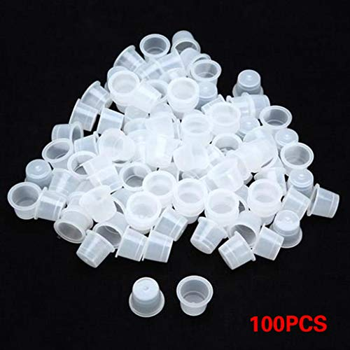 LEVEL GREAT 100 PCS Ink Cup Fournitures Anneau en Plastique Pigment Caps Holder Maquillage Fournitures Container Sourcils Lip Tattoo Anneau