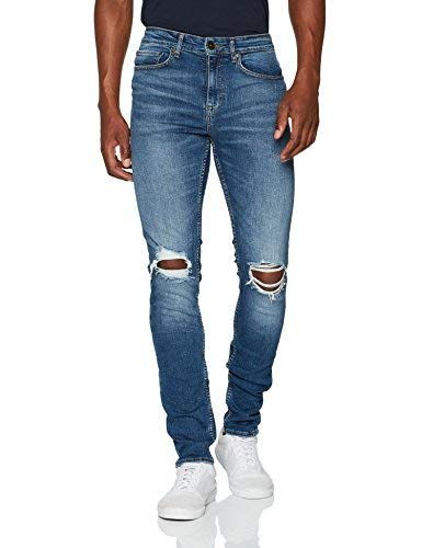 New Look Busted Knee Jeans Skinny, Blu (Bright Blue), W30/L32 Uomo
