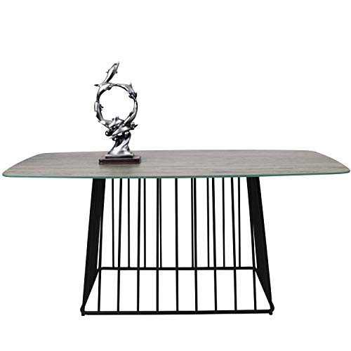 Moncot Rectangle Coffee Table with Metal Base, Tempered Glass Wood Finish Top, Weatherproof Outdoor & Indoor, Cocktail Table, Accent Table for Living Room, Patio, Balcony, CT391-WD