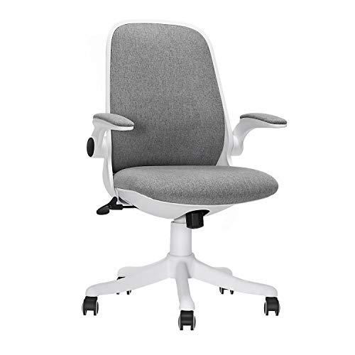 LEOVOL オフィスチェア デスクチェア 椅子 跳ね上げ式アームレスト 腰サポートクッション 通気性抜群 360度回転 座面昇降 静音PUキャスター