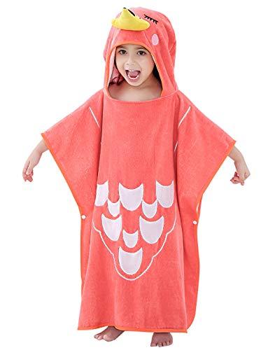 Happy Cherry Poncho de baño infantil con capucha para niños y niñas, albornoz de rizo para niños de 2 a 7 años, 13 colores 1-rojo Talla única