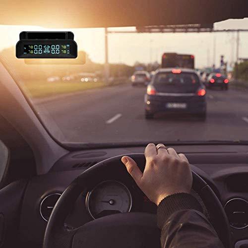 KZJIEZH Monitor de neumáticos para automóviles inalámbricos, TPMS Solar Impermeable, con 4 Sistema de Alarma automático Externo Sistema de Alarma automático en Tiempo Real Montar Carga USB