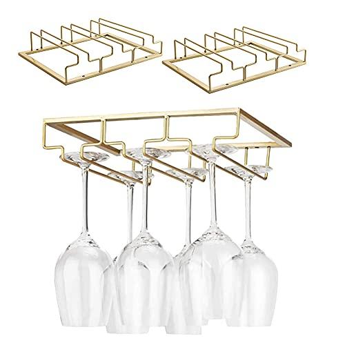 Iriisy 2 Pcs Soporte para Copas de Vino Tinto, Casa Cocina Ajustable Vino Cristal Soporte,Soporte para Copas de Vino, Estante de Almacenamiento de Acero Inoxidable (Dorado, 3 Filas)