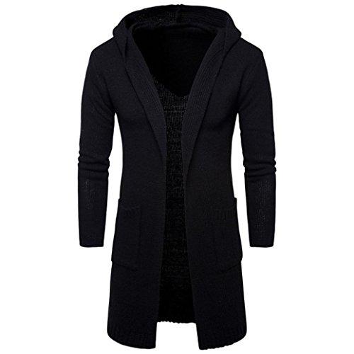 Hombres Slim Fit Encapuchados Suéter de Punto de Cardigan Trench Largo Abrigo Chaqueta by Venmo (M, Negro)