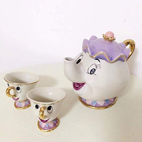 Tetera de té esmaltada Juego de té de la Bella y la Bestia de Dibujos Animados Mrs Potts Tetera Chip Cup Sugar Bowl Juego de ollas Tetera de café cumpleaños