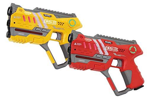 Jamara 410085 Impulse Gun - Pistola Set Laser Tag con 3 Battlemodi (4 Giocatori per Squadra, Last Man Standing, Duell), 4 Armi simulate con Effetti sonori, Portata Fino a 40 m, Giallo/Rosso