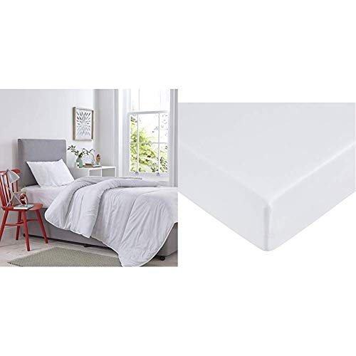 Silentnight Kids Bed Set, Polyester Cotton, White, Single, 10.5 tog & AmazonBasics Microfibre Fitted Sheet, Single, Bright White