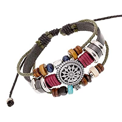 Trenro Women Lady Bohemia Wind Beaded Multilayer Hand Woven Bracelet Jewelry