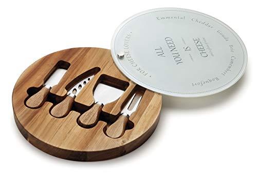 Lacor messen voor kaas D. 25 cm, hout, bruin, 30 x 25 x 5 cm