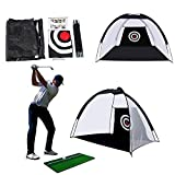 RUIZHUO Golf Net Practice Driving Chipping Net and Mat Outdoor Golf Games for Adults 2M Foldable Portable Hitting Net Golf Gifts for Men