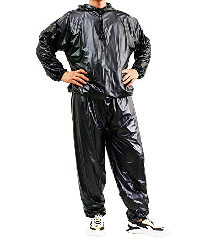 Liangzhou Fitness Sauna Suit for Men and Women, Heavy Duty Fitness Weight Loss Sweat Suits Exercise Gym Suit Anti-Rip with Hood