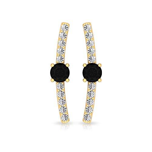 Pendientes de ónix negro de 3 mm para mujer, pendientes HI-SI Diamond Escalador, Oro Crawler Pendientes para Mujer, 10K Oro amarillo, Par