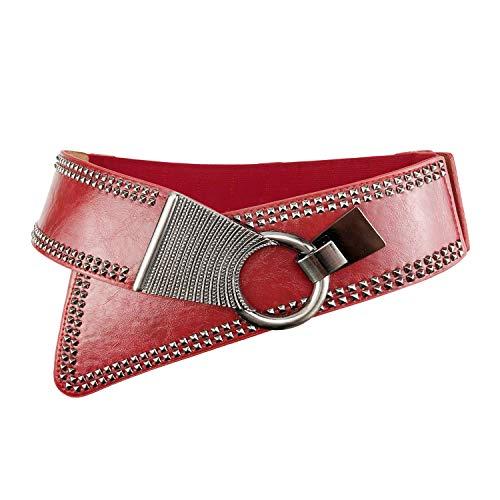 Women's Fashion Vintage Wide Waist Belt Elastic Stretch Cinch Belts With Interlock Buckle, Red, One Size