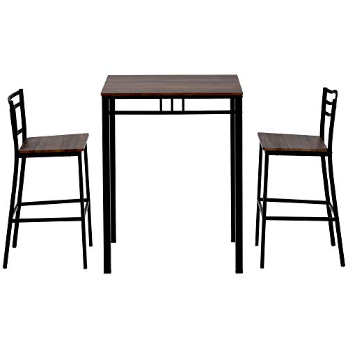 Bar Table Set Pub Table and Chairs Dining Set 2 Person Space Saving Dining Room Table Set Kitchen Counter Height Dining Table Set Small Breakfast Table Chairs Set Patio Table with 2 Bar Chairs Brown