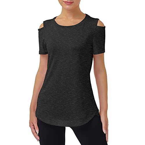 Miusey Short Sleeve Tops for Women, Young Loose Fit Stretch Breathable Sportswear Hiking Running Boating Outdoors Activities Tunic with Cold Shoulder Black X-Large