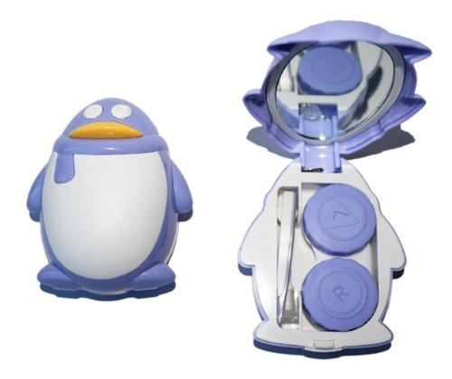 Kontaktlinsenbehälter Aufbewahrungsbehälter Etui Set Spiegel süße Pinguin Violett