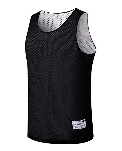 ALFGO Mesh Tank Top | Durable & Breathable Jersey 100% Polyester for Basketball, Soccer& Football | Moisture Wicking Reversible Jersey for Training XS-XXXL| Gift of 3 Wristbands - Black/White, Medium