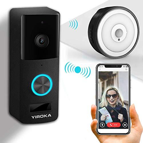 Timbre inalámbrico YIROKA, timbre de video HD 720P, timbres de cámara Wifi, detección de movimiento PIR, campanilla de luz nocturna y empuje a prueba de agua