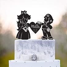 Super mario cake topper,super mario princess peach cake topper,last name cake topper,mario cake topper,unique cake topper,last name cake,a47