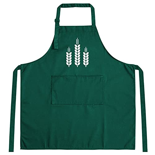 OMIDM Delantal, Estilo Simple Negro Algodón Puro Delantal Moda Cocina Cocina Cafetería Pastelería Unisex Negro Verde (Color : A)