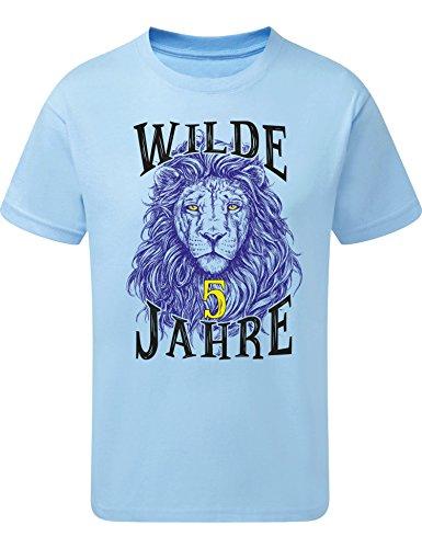 Geburtstags Shirt: Löwe- Wilde 5 Jahre - Junge T-Shirt für Jungen - Geschenk-Idee zum 5. Geburtstag - Fünf-TER Jahrgang 2015 - Lion - Pyjama Sport Trikot - Tiger Tier-e Zoo Cool Blau (128)