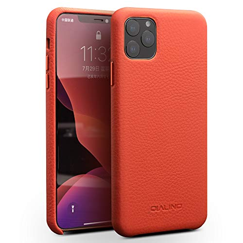 KMXDD iPhone 11 Pro Max 6.5 inch Case Business Style Ultra Slim Thin Genuine Leather Hard Back Case Cover for iPhone 11 Pro Max (6.5-inch 2019) (Orange, iPhone11ProMax 6.5inch)