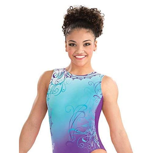 9f5b9d1e2289 Amazon.com: GK Laurie Hernandez Whirl of Wonder Gymnastics Leotard Ballet  Dance Athletic One-Piece for Women & Girls,Blue,purple,Children's Large:  Clothing