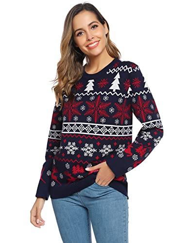 Aseniza Jersey Navideño para Hombre Mujer Pareja Jersey Navidad Familia de Rojo de Casual Cuello Redondo Clásico, S-XXL