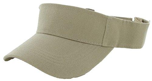 DealStock Plain Men Women Sport Sun Visor One Size Adjustable Cap (29+ Colors) (Khaki)